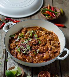 Fiery Lamb Curry - Le Creuset Recipes by Read Lamb Recipes, Spicy Recipes, Curry Recipes, Meat Recipes, Indian Food Recipes, Asian Recipes, Cooking Recipes, Recipies, Lamb Dishes