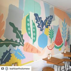 Our artists are busy bees right now - especially @leahbartholomew producing cafe wall murals like this whilst whipping new pieces to unveil to our retailers in feb ....excitement in the camp !!  #colour #style #art #australianmade