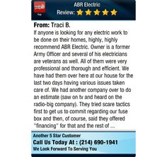 If anyone is looking for any electric work to be done on their homes, highly, highly...