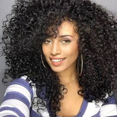 Long See-through Bang Fluffy Afro Curly Synthetic Wig - Black Mobile