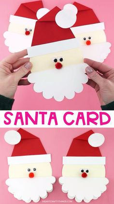 Cute Santa Christmas Card Grab our free template to make this cute Santa Card for family and friends. Kids will love making this simple and unique Christmas card idea. Christmas Cards Handmade Kids, Christmas Arts And Crafts, Preschool Christmas, Santa Christmas, Christmas Cards For Children, Christmas Card Making, Diy Christmas Cards Pop Up, Christmas Card Ideas With Kids, School Christmas Cards