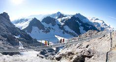 TITLIS Cliff Walk suspension bridge - Mount Titlis, Swiss Alps - 3041 metres above sea-level, 500 metres off the ground, 100 metres long
