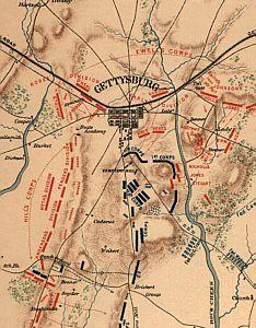Gettysburg Battle Map Of The Battle Of Gettysburg Pa - Gettysburg battle us map