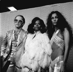 "lisa401971: "" Elton John, Diana Ross and Cher at the Rock Music Awards (1975) """