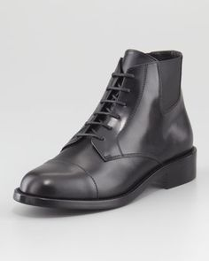 Chelsea Lace-Up Leather Bootie, Black by Saint Laurent at Neiman Marcus. $995