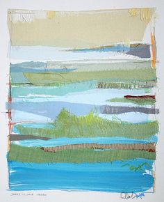 James Island Creek by Karin Olah - original fine art painting  with fabric and mixed media on paper 2014
