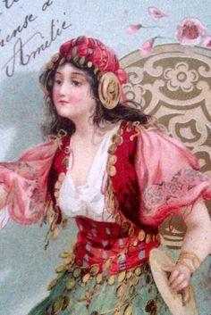 1905 Antique Postcard of Painting of Gypsy Girl Art Nouveau . Gypsy Life, Gypsy Soul, Vintage Prints, Vintage Art, Gypsy People, Art Nouveau, Gypsy Fortune Teller, Gypsy Living, Gypsy Women