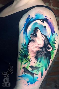 Watercolor Tattoos Will Turn Your Body into a Living Canvas - watercolor wolf tattoo © tattoo artist Ewa Sroka Ewa Sroka ❤❤❤❤❤ - Watercolor Tattoo Shoulder, Disney Watercolor Tattoo, Geometric Watercolor Tattoo, Watercolor Tattoo Sleeve, Watercolor Fox, Watercolor Canvas, Disney Aquarell Tattoo, Aquarell Wolf Tattoo, Pokemon Tattoo