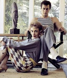 Tony Curtis and Janet Leigh photographed by Dennis Stock at their home, 1957.