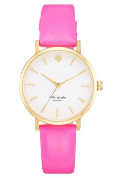 Free shipping and returns on kate spade new york 'metro' round leather strap watch, 34mm at Nordstrom.com. Slim stick indexes round an opalescent mother-of-pearl dial to display three-hand time on a classic gold-plated watch. A finely textured leather strap makes an elegant finish.