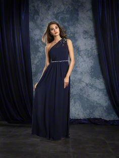 Alfred Angelo Style 8109L: floor length long one shoulder bridesmaid dress with crystal beading and matching belt