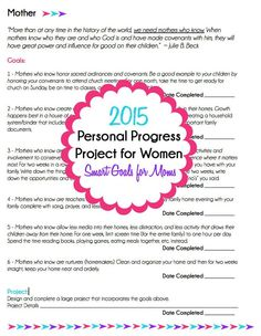 Personal progress isn't just for young women anymore, make 2015 the year of progress with these personal progress activities and goals designed specifically for women and moms