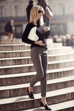 Black sweater, grey tweed style cropped pants and loafers, white clutch  #minimalist #fashion