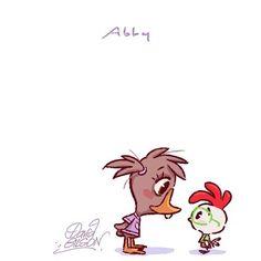 Chibies of Disney's Abby & Chicken Little. Facebook.com/artofdavidgilson/ http://davidgilson.tumblr.com/ #ChickenLittle #AbbyMallard #Disney #fanart #davidgilson