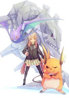 Pokémon - 026 Raichu, 169 Crobat and 208 Steelix art by Fu-Ta (Sankaku Channel)