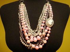 Vintage Necklace Runway Bib Pink Beads Gray Pearls Cameo Rhinestones By VintElegance.com