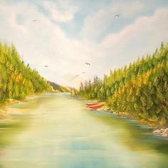 """(c) Valley Trail Hike by M. Kishek. 24""""x36"""" oil on canvas. #fineart #kayaking #oilpainting #hiking #mont #monts #mountain #nature #lac #lake #jacques-cartier #hike #canoeing #rapids #arts #river #riviera #valleys #vale #trails #artist #artists #art #oils #canvas #valley #trail #peak #spruce #backpacking Kayaking, Canoeing, Hiking Trails, Landscape Paintings, Oil On Canvas, Jacques Cartier, River, Fine Art, Photo And Video"""