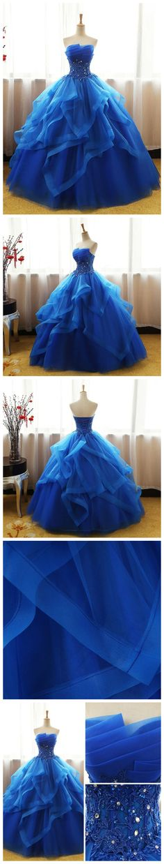 CHIC BALL GOWNS ROYAL BLUE STRAPLESS MODEST LONG PROM DRESS EVENING DRESS AM777 #amyprom #fashion #party #evening #chic #promdress #promdresslong #longpromdress #eveningdress #royalblue #ballgowns