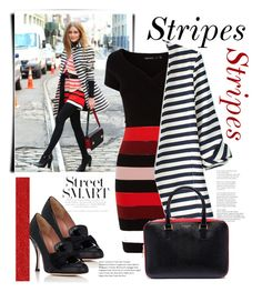 """""""spring stripes"""" by mela-at-munich ❤ liked on Polyvore featuring Karen Millen, WithChic, RED Valentino and Thom Browne"""
