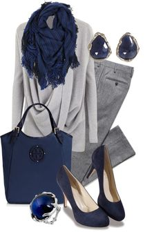 Work outfit : liven up a grey outfit with splashes of navy or blue Style Work, Mode Style, Mode Outfits, Fall Outfits, Casual Outfits, Style Feminin, Grey Outfit, Business Attire, Business Style