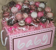 cake pops: baby shower cake pops (baby girl or baby boy). $20.00, via Etsy.