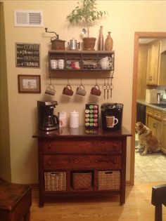 Home coffee bar my husband made from an old dresser Decor
