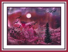 Maanlandschap geschilderd met bijenwas door Beika Kruid