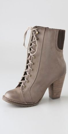 Steven By Steve Madden Isolate Lace Up Booties in Brown (taupe) | Lyst