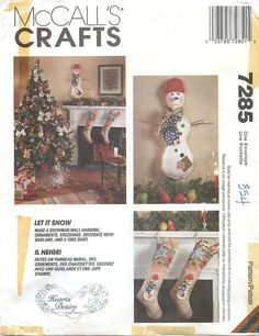 """McCall's Crafts 7285 Sewing Pattern for """"Let it Snow"""" Christmas Decorations by CarlasHope on Etsy"""
