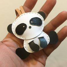 Small size Yen the Panda cowhide leather charm by leatherprince