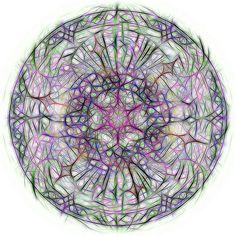 Nieuw in mijn Werk aan de Muur shop: Kleurige mandala op witte achtergrond