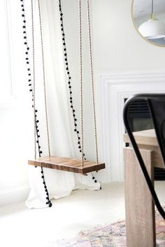 How to Make an Indoor Swing! - Chris Loves Julia - How to Make an Indoor Swing! How to Make an Indoor Swing! Diy Room Decor, Bedroom Decor, Home Decor, Family Room Playroom, Diy Swing, Home Swing, Diy Porch, Aesthetic Room Decor, Swinging Chair