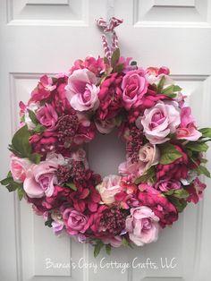 Spring wreath pink peony wreath floral von BsCozyCottageCrafts