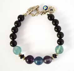 Flourite, Onyx Bracelet with Evil Eye and Heart Charms...Beautiful First Quality Gemstone Bracelet...Choose your Charms... by iyildiz on Etsy, $23.00