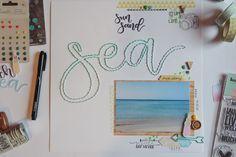 scrapbooking layout | Sun Sand Sea by kushi www.kkushi.com #scrapbooking #scrapbookinglayout #kkushi #sewingonpaper