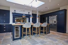 Bespoke blue kitchen island with upholstered Bar Stools - The Main Company Open Plan Kitchen Dining Living, Open Plan Kitchen Diner, Living Room Kitchen, Home Decor Kitchen, Interior Design Kitchen, Home Kitchens, Blue Kitchen Designs, Large Open Plan Kitchens, Blue Shaker Kitchen