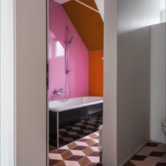 Plain, diamond #shape #cementtile placed in cube-#pattern. Project from UNDEND #architecture . #photography from Roland Taennler. Tiles produced from #pophamdesign. Cube Pattern, Tiles, Shapes, Diamond, Architecture, Interior Inspiration, Projects, Photography, Bathroom