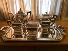 Stunning and Elegant Art Deco SilverPlate (nickel Silver) Coffee and Tea Set of Six including Tray by Poole Silver Co. MA by AmbiancebyLelette on Etsy Silver Tea Set, Home Room Design, Nickel Silver, Coffee Set, Vintage Tea, Plate Sets, Cottage Chic, Art Deco, Art Nouveau