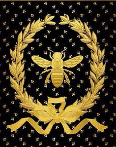 Gold Foil Print Napoleonic Bee with Laurel Wreath [ThinkLovePrintables]