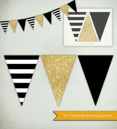 DIY Printable Banner ------ Graphic stripes, sparkling glitter and a bold solid. This listing is for Black Gold Party, Black White Gold, Black And Gold Party Decorations, Black Stripes, Gold Diy, Graduation Decorations, Graduation Ideas, Preschool Graduation, Printable Banner