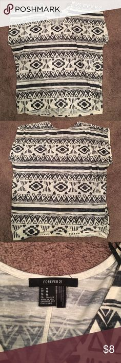 Forever 21 Tribal t-shirt Forever 21 Tribal shirt- great condition only worn a few times. Super cute and comfy! Forever 21 Tops Tees - Short Sleeve