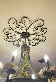 47 Gadgets Minimalist Decor Ideas To Update Your Room - Interior Design Fans Ceiling Decor, Ceiling Design, Ceiling Ideas, Iron Furniture, Tuscan Decorating, Interior Decorating, Iron Art, Ceiling Medallions, Tuscan Style