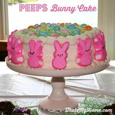 Recipes, Food and Cooking Peeps Bunny Cake  #peeps #cakerecipes #eastercakerecipes