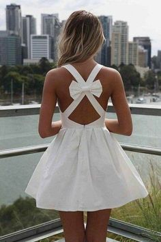 cute fashion backless dress with bow Dress With Bow, Dress Me Up, Pink Dress, Pretty Dresses, Beautiful Dresses, Gorgeous Dress, Bow Dresses, Sexy Dresses, Short White Dresses