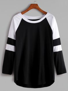 Black And White Contrast Raglan Sleeve T-shirt