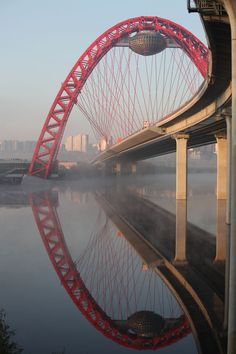 Picturesque bridge in Moscow - one of the largest cable-stayed bridge in Russia