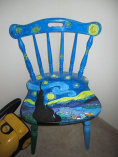 Starry Night chair I painted in art class :) - Imgur