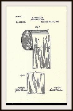 Bathroom Art:  Toilet Roll Patent  Print 1891 by BloominLuvly
