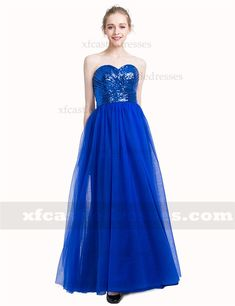 A Line Sweetheart Sequin Long Prom Dresses MXN1361