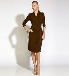 Brown Cascade Wrap Dress